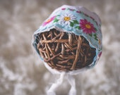 "RTS Lt Blue with Floral Vintage Inspired Newborn Bonnet Photography Prop ""April"""