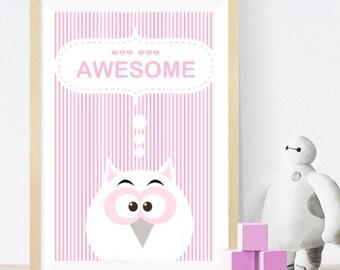 Owl - Baby room wall art