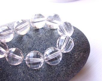 Crystal Quartz Round Beads, Quartz Faceted Round Bead, Rock Crystal Round Bead, 10mm, (10), #3, destash, 10% off use code SAVE10