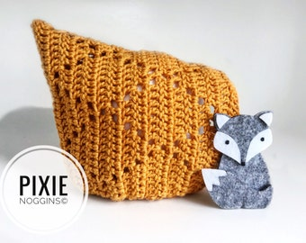 Lucy in the Sky crochet pixie bonnet. Size 6-12m