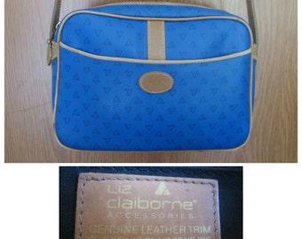 SALE - Vintage 80's Liz Claiborne Leather Trim Blue Shoulder / Crossbody Bag