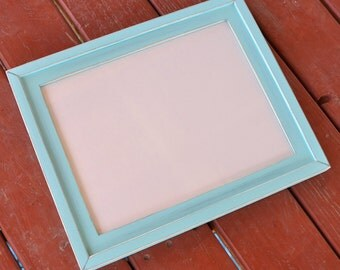 1) 11x14 Stacked rustic distressed pine frame .... sea green.... HANDMADE