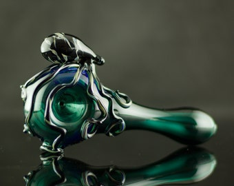 Octopus Glass Spoon Pipe Hand Blown Thick Wall in Lake Green & Camouflage, Ready to Ship #388