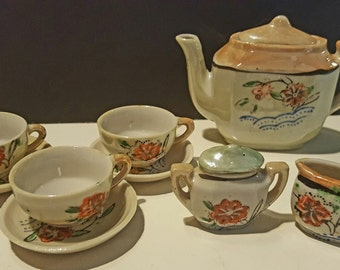 Vintage Hand Painted Child's  Luster-ware Tea Set