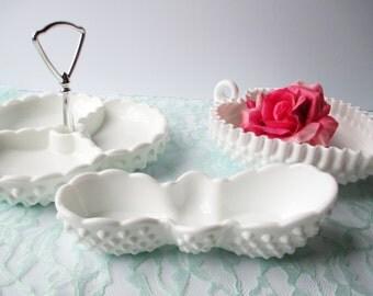 Vintage Fenton Milk Glass Hobnail Serving Set Collection of Three - Tea Parties Bridal