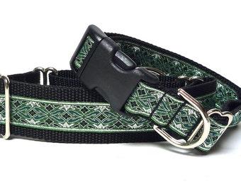 "Martingale dog collar 1.5"" wide or 1"" Tag Collar green and silver metallic OLD ENGLISH, Greyhound Collar, Sighthound Collar, Adjustable"