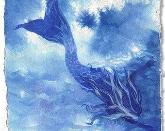 Mermaid- Going Down Mermaid- original painting by Gretchen Kelly