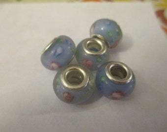 5 Blue Flower Glass Euro Beads Craft Supplies