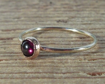 Garnet Solitaire Ring - Stacking Ring, Gold Garnet Ring, Red Stone Ring, Gemstone Ring, Solitaire Ring, Layering Ring, Gemstones