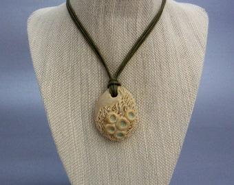 Ceramic pendant, ceramic jewelry, handmade ceramic pendant, ceramic necklace, clay pendant