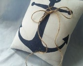 White Navy Blue Anchor Ring Bearer Pillow Twine Rope Nautical Ring Pillow Beach Accent