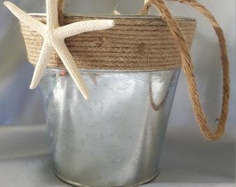 Beach Wedding Flower Girl Basket Galvanized Metal Bucket Starfish Accent Burlap Twine Wedding Basket Unique