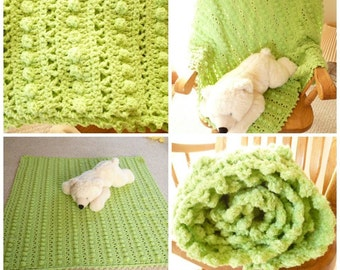 Crocheted Baby Blanket, Crocheted Kiwi Green Baby Blanket, Shower Gift, Baby Boy, Baby Girl
