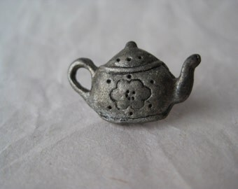Tea Pot Bronze Flower Pin Tie Tack Vintage Lapel