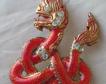 Asian Snake Orange Red Brooch Rhinestone Gold Vintage Pin Clear