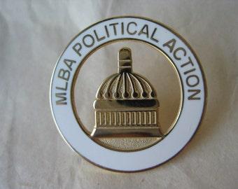 Bowling MLBA Political Action Pin Brooch Vintage Gold Enamel White Capital