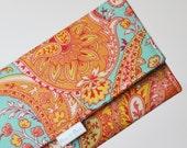 WOMEN'S WALLET /// Paisley Wallet, Bohemian Wallet, Boho, Orange Wallet, Teal Wallet, Turquoise, Paisley Wallet