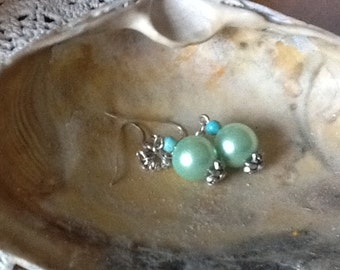 TURQUOISE and Pearls Dangle Earrings Free Shipping