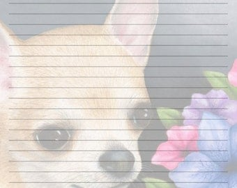 Digital Printable Journal Page Stationary 8x10 Download Scrapbooking Paper Dog 86 Chihuahua Template art painting Lucie Dumas
