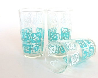 Retro  Dishes - Mid Century Modern Turquoise and White Glass Water Tumblers, Set of 3 from Hazel Atlas