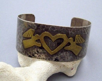 Wide Sterling Cuff Hammered Bracelet Angel Heart Jewelry B6974
