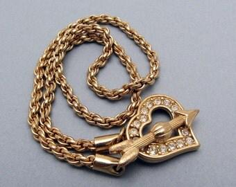 Swarovski Heart Necklace Cupids Arrow Vintage Jewelry N7202