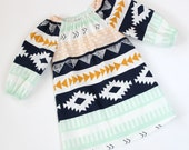 RTS 18m/2t Long Sleeved Aztec Peasant Dress OOAK