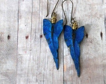 50% Off Tropical Earrings, Ocean Blue, Gold Brass, Caladium Leaves, Hand Patina, Wire Wrapped Dangles, Resort, Cruise
