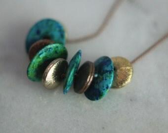 Ocean Blue and Copper Necklace, Verdigris Green, Ceramic Beads, Mediterranean, Bohemian