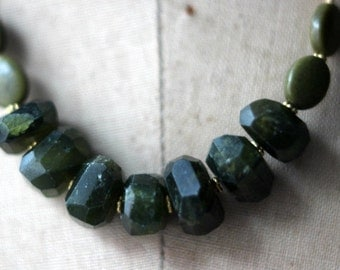 October Sale Green Vesuvianite Necklace, Green Gemstone, Chunky Beads, Forest Green, Olive Green, Gold Brass. Boho Bohemian