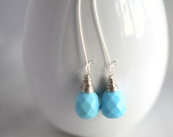 Baby Blue Dangles, Faceted Glass Earrings, Tear Drop, Silver, Wire Wrapped