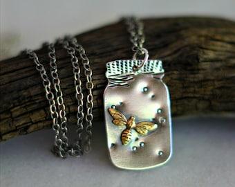 Fireflies Pendant, Mason Jar Necklace, Sterling Silver, Summer Jewelry, Firefly, Gold Fireflies