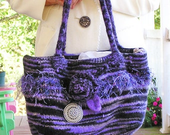 Felted Hand or Shoulder Bag Dancing in the Dark - in Purples and Black