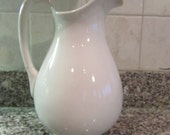 Reserved......Beautiful large white ironstone pitcher- solid, vintage, fine condition