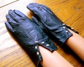 Kid Leather Gloves, Navy Blue Leather Gloves, Vintage Driving Gloves, Leather Driving Gloves, Mad Men Style, 1950's Fashion