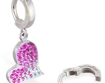 Pink Crystal Heart Sterling Silver Belly Button Ring by TummyToys (69037)