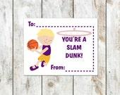 Basketball Valentines - You're a Slam Dunk Valentine - Blonde Basketball Player - Class Valentine - Printable Valentine