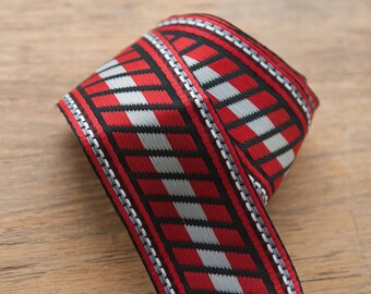 2 yards of Mod Vintage Trim -  60s 70s New Old Stock Woven Geometric Woven Red Gray Black