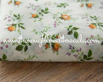 Gorgeous Gold Rosebuds - Vintage Fabric New Old Stock 60s Shabby Chic