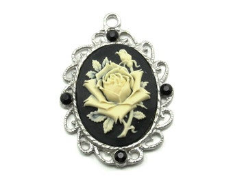 Single Neo Victorian 40x30mm Gothic Cameo Rose Pendant in Cream on Black with Black Swarovski Crystal Accents
