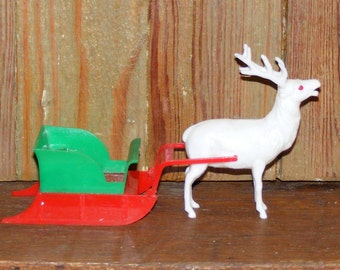Vintage Allied Plastic Reindeer and Sleigh Holiday Decoration USA