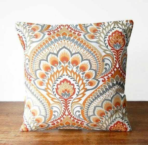 orange grey white decorative pillow cover retro floral 16. Black Bedroom Furniture Sets. Home Design Ideas