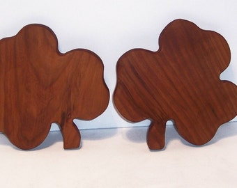 Mini Shamrock Cutting Board Set of 2 Handcrafted from Cherry Hardwood