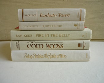 White book collection, ivory books, white, gold lettering, bronze lettering, instant collection, wedding decor, book collection