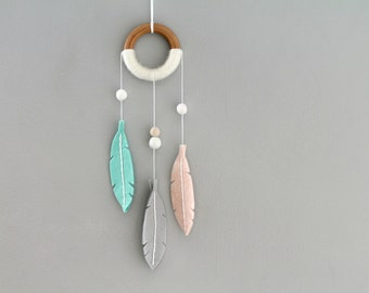 Small Pastel Dream Catcher. Felt Nursery Wall Hanging. Feather Decor for Baby Girl. Handmade by Ordinary Mommy Design.