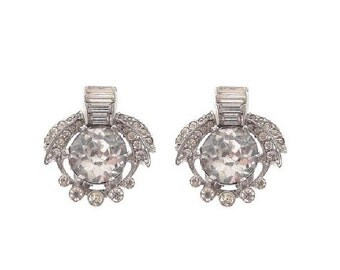 Mazer Vintage Earrings, 1930s Art Deco Designer Rhinestone Clips, Antique Wedding Jewelry, Statement Bridal Earrings