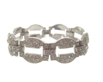 Art Deco Antique Bracelet, Wide Oval Rhinestone Link, 1920s Vintage Art Deco Wedding Jewelry, Art Deco Jewellery