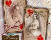 Queen Of Hearts Digital Collage Sheet Playing Cards with Queens Portraits Decoupage Paper Vintage Playing Cards Playing Card Collage Sheet