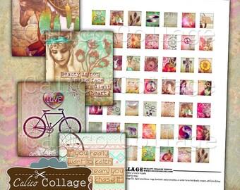 Printable Boho Chic Digital Collage, Scrabble Tile Images, Instant Download, Printable Sheet, Collage Sheets, Printable Scrabbles