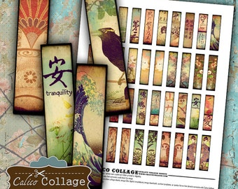 Oriental Collage Sheet .5x2 Matchstick Size Images for Pendants Graphics for Earrings Decoupage Paper Calico Collage Art Chinese Letters